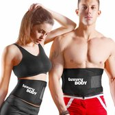 LuxuryBody® Zweetband Buik incl. E-Boek - Waist Trainer Man/Vrouw - Afslankband - Sauna Belt - S