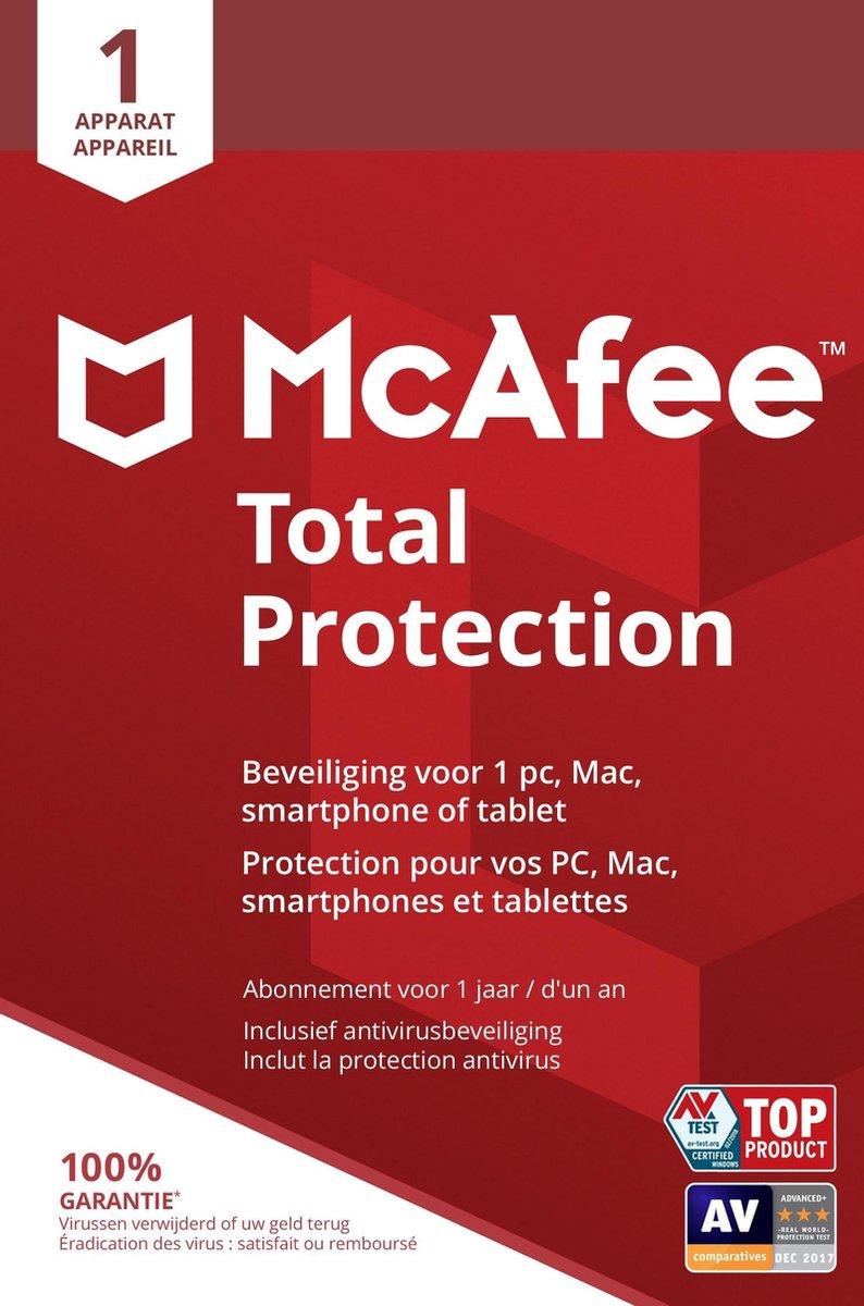 McAfee Total Protection - Multi-Device - 1 Apparaat - 1 Jaar - Nederlands / Frans - Windows / Mac