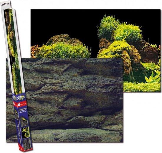 Aquarium achterwand poster   Rots en planten motief (100x50cm)