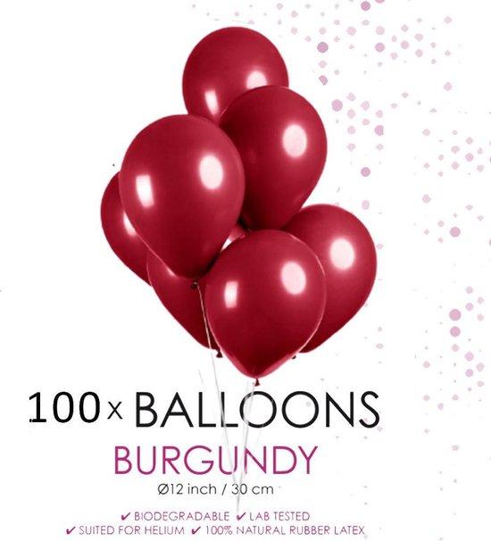 100 ballonnen bordeaux rood 12 inch.