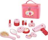 Make up tas inclusief houten make up accessoires