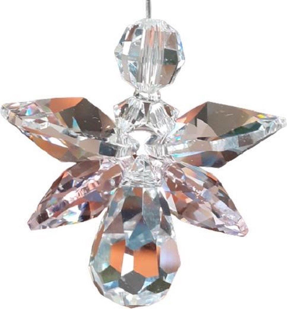 Geluksengel van Swarovski kristallen Roze ( Geluks engel , Beschermengel , Raamhanger , Raamkristal