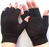Vingerloze handschoenen met grip unisex kleur zwart maat S/M