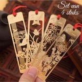 Boekenlegger Chinese Stijl - 4 stuks - Bladwijzer / Bookmark - Goudkleurig
