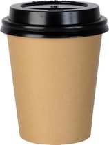 Kartonnen Koffiebeker 8oz 240ml bruin + zwarte deksels - 100 Stuks - wegwerp papieren bekers - drank bekers - milieuvriendelijk