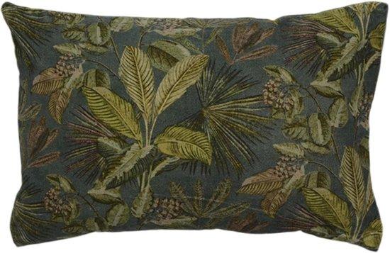 Woonkamer Kussen van Fluweel Ambiance met blad print, maat 40x60cm met basiskleur Groen/ Petrol