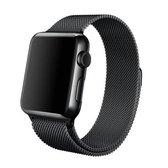 Apple Watch Armband Series 1/2/3/4/5/6/SE 38/40 mm Horloge Bandje - iWatch Milanees Watchband Polsband Luxe Milanese Loop - Roestvrij staal - Horlogeband Magneet Sluiting - Zwart