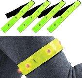 4-Pack Waterdichte Lichtgevende LED Veiligheidsbanden Inclusief Batterijen - 4 Stuks – Geel / Rood - 25x13x2cm | Knipperend of Brandend Licht Voor Arm en Been | Klittenband Armband en Beenband | Knipperende Hardloopband | Veilig Hardlopen Band