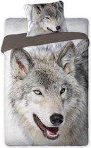 1-persoons dekbedovertrek taupe-grijs met grote wolf KATOEN 140x200 cm