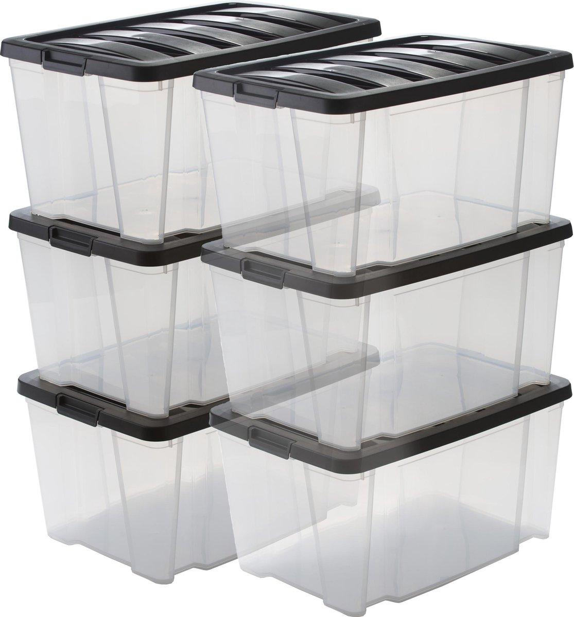 IRIS Handy Box Opbergbox - 45L - 6 stuks - Transparant/ Zwart