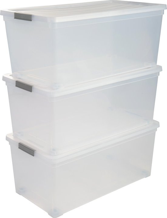 IRIS New Carry Stocker Rollerbox Opbergbox - 70L - Kunststof - Transparant/Zwart - Wieltjes - Set van 3