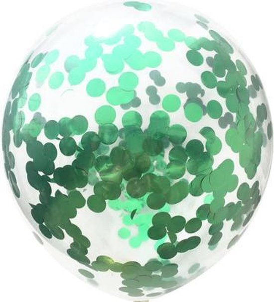 Confetti ballon Groen 5 stuks , Kindercrea