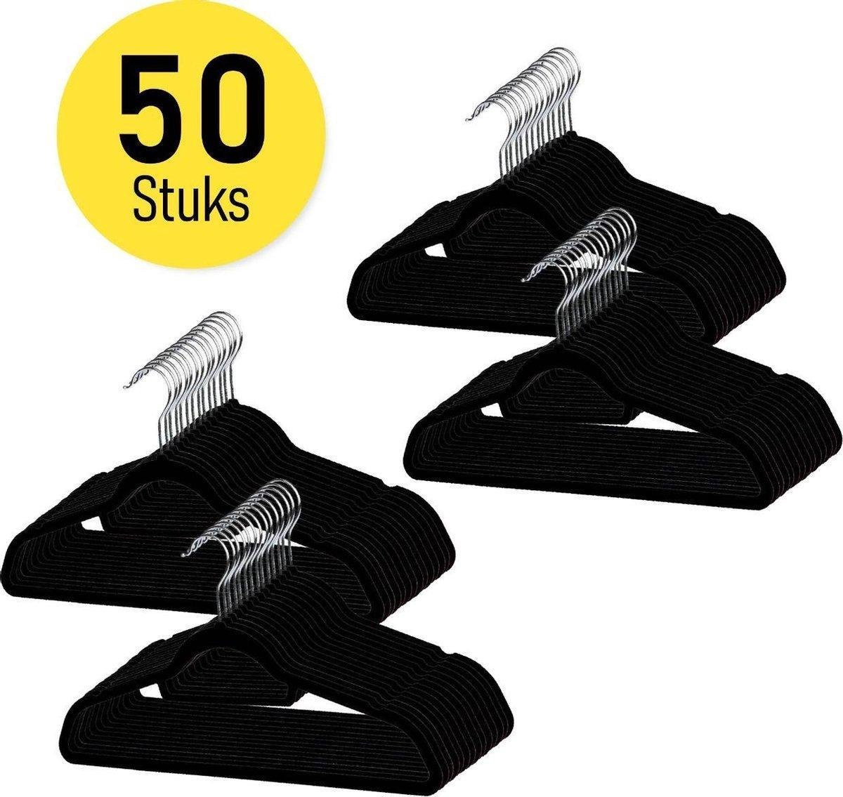 Anti-Slip Kledinghangers - Met broeklat - Zwart - 50 Stuks