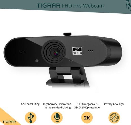 Tigrar - webcam voor pc - Streamcam - Streaming webcam - Resolutie 3840*2160p - 8 Megapixels - Privacy Schuifje - Thuiswerken, Laptop, Online Lessen - Plug and Play