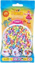 Hama strijkkralen pastelkleuren mix, zakje met 1.000 stuks