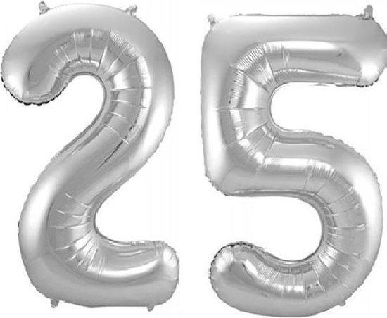 Folie ballon cijfer 25 jaar – 80 cm hoog – Zilver - met gratis rietje – Feestversiering – Verjaardag – Bruiloft
