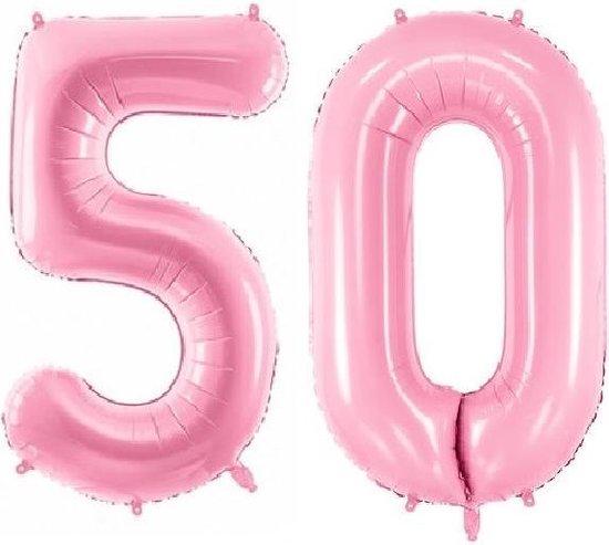 Folie ballon cijfer 50 jaar – 80 cm hoog – Roze - met gratis rietje – Feestversiering – Verjaardag – Abraham Sarah - Bruiloft