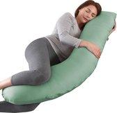 Litollo® Zwangerschapskussen (J-shape) - Zijslaapkussen - Voedingskussen - Lichaamskussen - Body pillow - 145cm - Afneembare hoes - Olijfgroen