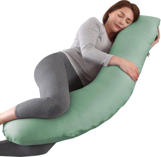 Litollo® Zwangerschapskussen (J-vorm) - Zijslaapkussen - Voedingskussen - Lichaamskussen - Body pillow - 145cm - Afneembare hoes - Olijfgroen