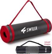 Swilix Yoga Mat / Fitness Mat - Incl. Draagriem En Draagtas - Zwart - 185 x 66 x 1.1 cm
