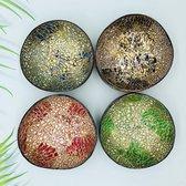 MLMW - Kokosnoot Kom Oosters Mix van 4 Kleuren - Coconut Bowl Oriental Mix - 650 ML - Handgemaakt - Uniek - Duurzaam - 100% Natuurlijk - Set van 4 - geschikt voor smoothie bowls, yoghurt, snacks en salades - kadotip.