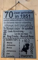 Zinken tekstbord 70 jaar geleden in 1951 - grijs - 20x30 cm. - verjaardag