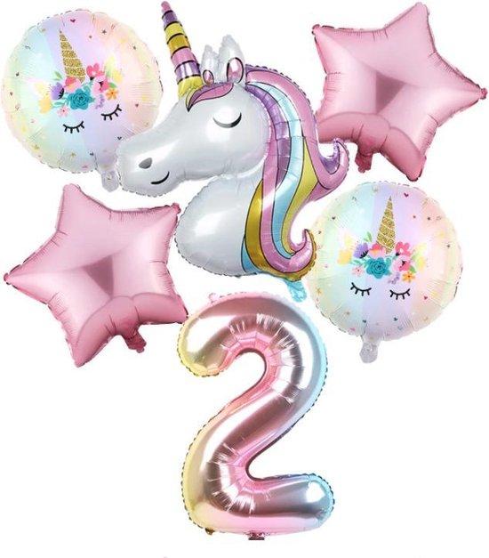 Set van 6 Stuks Unicorn / Eenhoorn ballonnen Verjaardagsfeestje Decoraties ( 2 jaar)