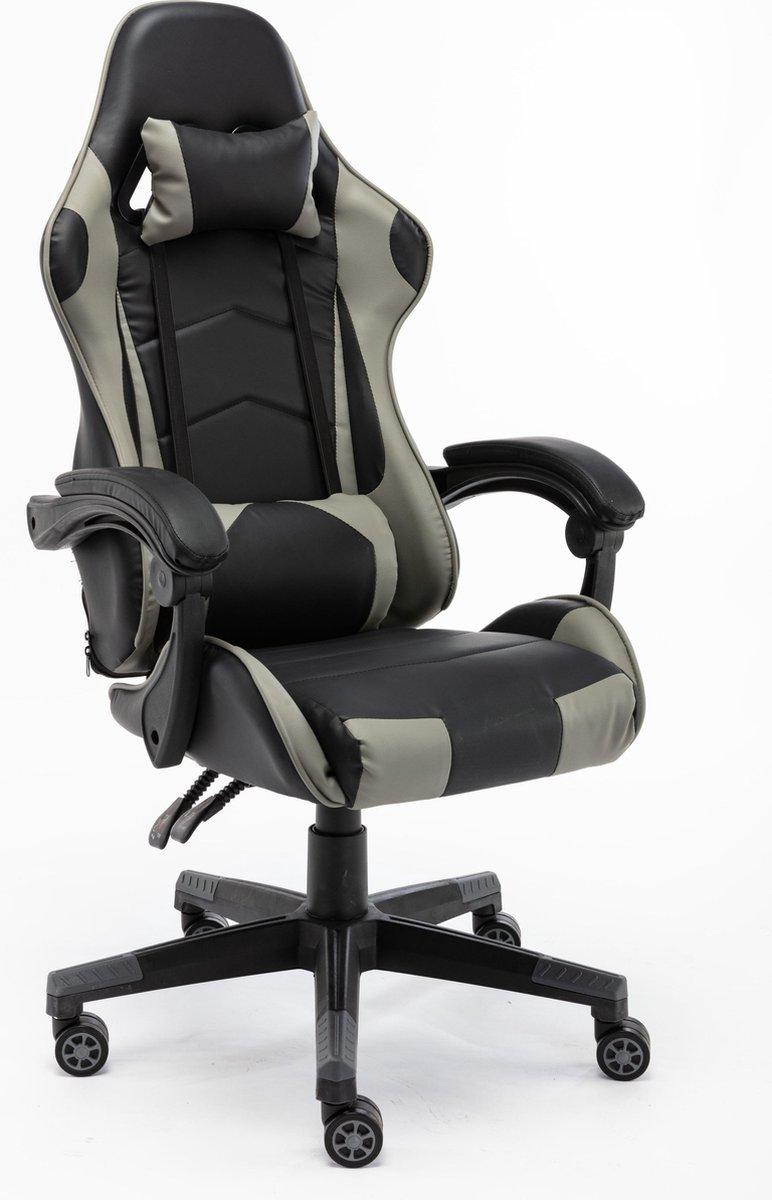 Alora gamestoel X-Treme grijs/zwart - Gaming Stoel - Gaming Chair -  Met Nekkussen & Verstelbaar Rug