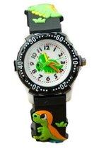 Dinosaurus horloge - 3D - kinderen - zwart/groen - analoog - 28 mm - I-deLuxe verpakking