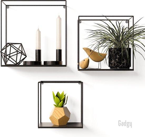 Gadgy Wandrek Industrieel - Set van 3 verschillende formaten - Wandrek metaal zwart - Wanddecoratie