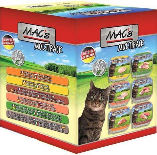 mac's kattenvoer natvoer - vlees kuipjes multipack 6 smaken 6 x 85g
