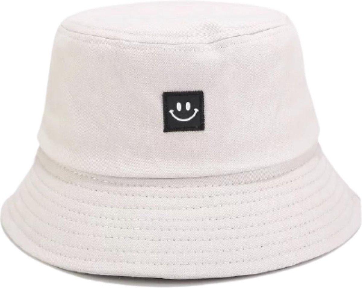 Bucket hat - Smile - Beige - Smiley - UV - Zonnehoed - Strandhoedje