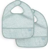 Jollein Slabbetje - waterproof - Snake soft green (2pack)