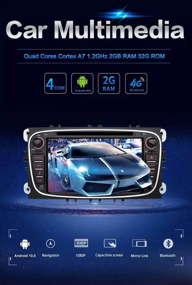 Ford Focus S-Max Mondeo Galaxy C-Max Kuga Android 10 navigatie DVD speler Bluetooth USB WiFi  Zwart