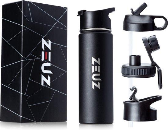 ZEUZ® Premium RVS Thermosfles & Drinkfles – Waterfles met Rietje - BPA Vrij – 700 ml - Mat Zwart