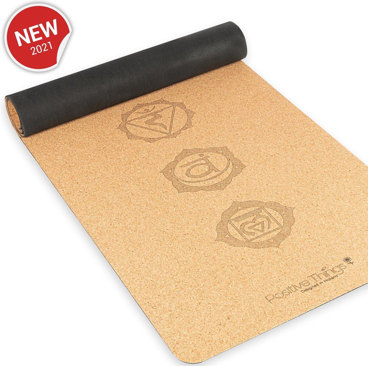 Positive Things Yoga mat   100% Natuurvriendelijke Kurk Yoga mat met anti slip   Workout mat - Fitne