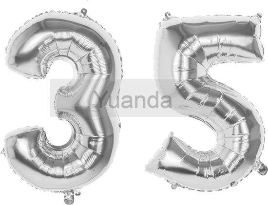 35 Jaar Folie Ballonnen Zilver- Happy Birthday - Foil Balloon - Versiering - Verjaardag - Man / Vrouw - Feest - Inclusief Opblaas Stokje & Clip - XXL - 115 cm