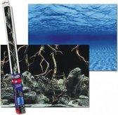 Aquarium achterwand poster | Wortels en zee motief (100x50cm)