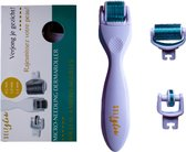 Self Glow Dermaroller 3 in 1 - Derma Roller - Dermaroller 0.5 Titanium - Dermaroller 1 mm - Baard Roller - Blauw