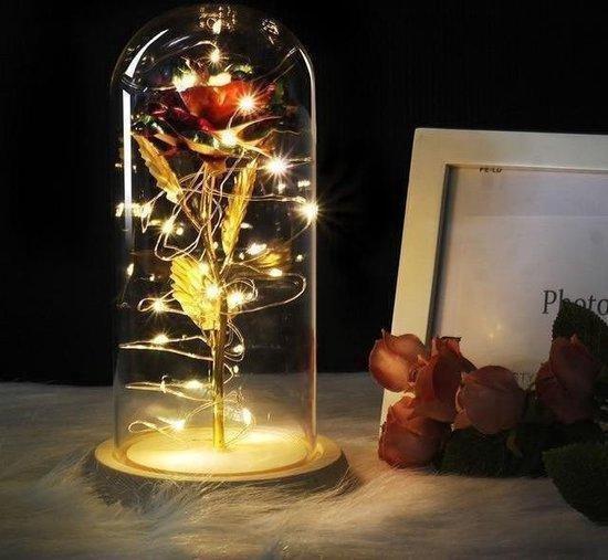 Luxe Valentijn gouden roos in glazen stolp - met LED verlichting - liefdes cadeau - beauty & the beast - Rose of love