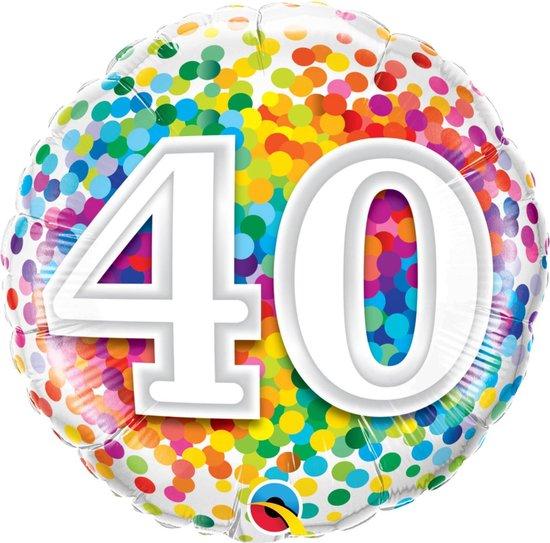 Folie cadeau sturen helium gevulde ballon 40 jaar confetti 45 cm - Folieballon verjaardag versturen/verzenden
