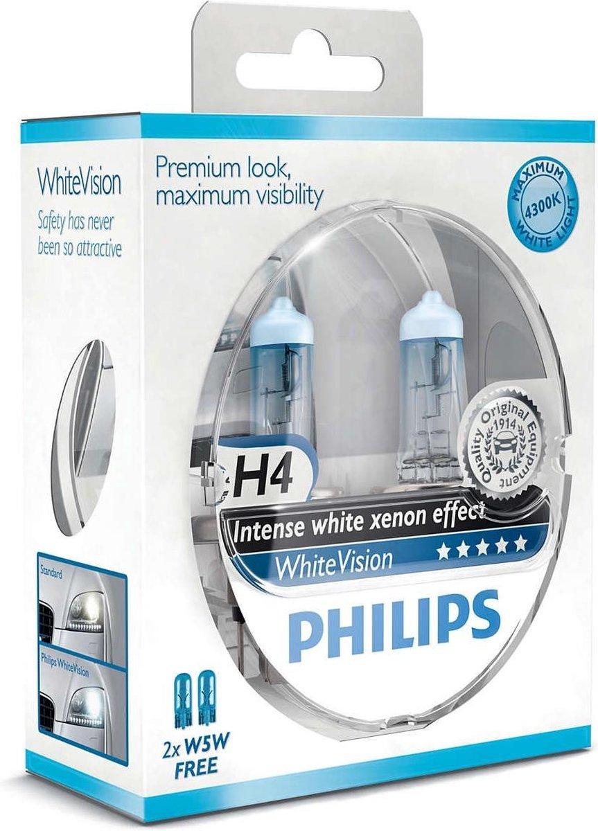 Philips White Vision H4 55W/12V - Voertuigverlichting - Halogeen Lampen - 2 stuks