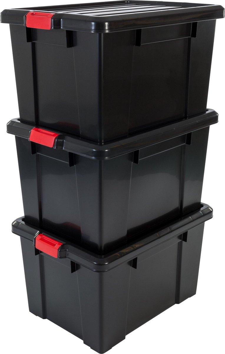 IRIS Powerbox Kunststof Opbergbox - 68L - 3 stuks - Zwart/Rood