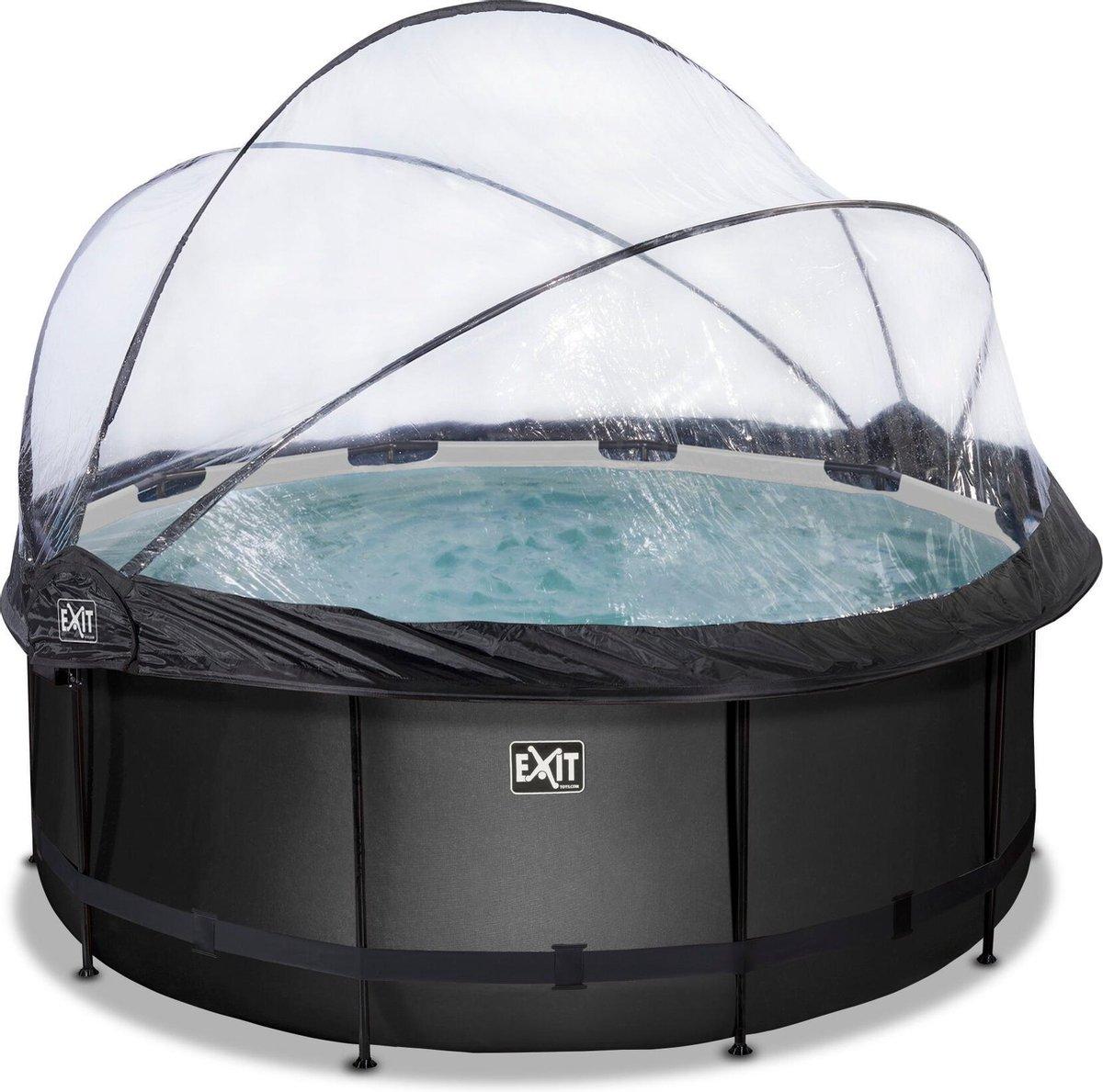 EXIT Black Leather zwembad ø360x122cm met overkapping en zandfilterpomp - zwart