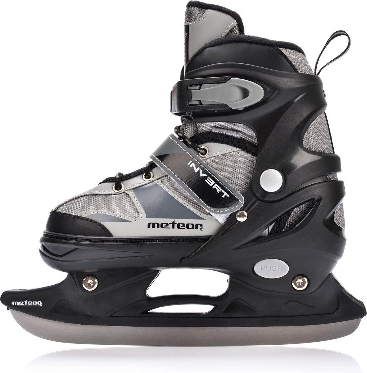 Junior 2in1 IJshockeyschaatsen - Verstelbaar - Zwart - Maat 30 - 31 - 32 - 33