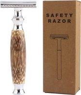 Safety Razor Bamboe + 20 Scheermesjes – Klassiek Scheermes Voor Mannen En Vrouwen – Double Edge Blades – Duurzaam Scheren