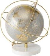 Wereldbol - Globe - 28cm - Ø25cm - Goud - Grijs - Marmer voet