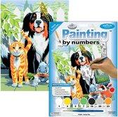 Schilderen Op Nummer Volwassenen -  Volledig Pakket met Stevig Canvas Bord   - Paint By Number  - Hobby - Dieren -  Huisdieren portret hond kat konijn cavia en muis 22x30cm  - PJS29