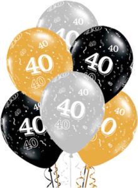 ballon 40 jaar , 10 stuks kindercrea