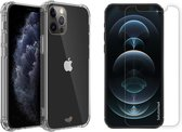 iPhone 12 Pro Max hoesje shock proof case transparant apple hoesjes cover hoes - 2x iPhone 12 Pro Max Screen Protector